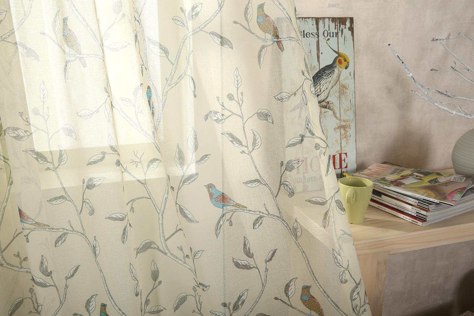 Oriental Bird Eyelet Voile Cream Curtains At Home