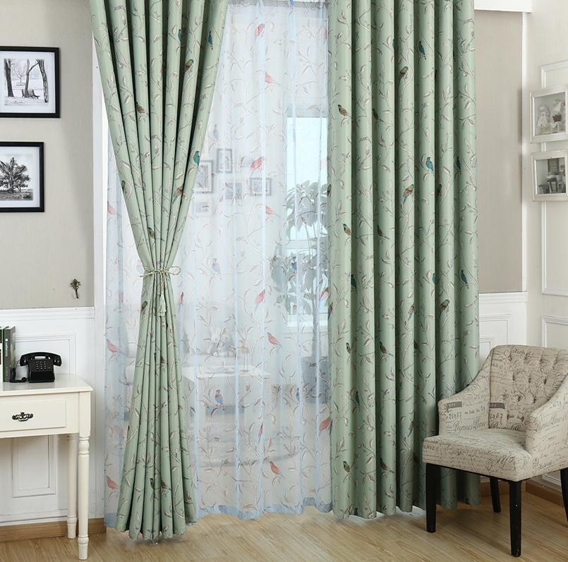 Oriental Bird Pencil Pleat Blackout Curtains At Home