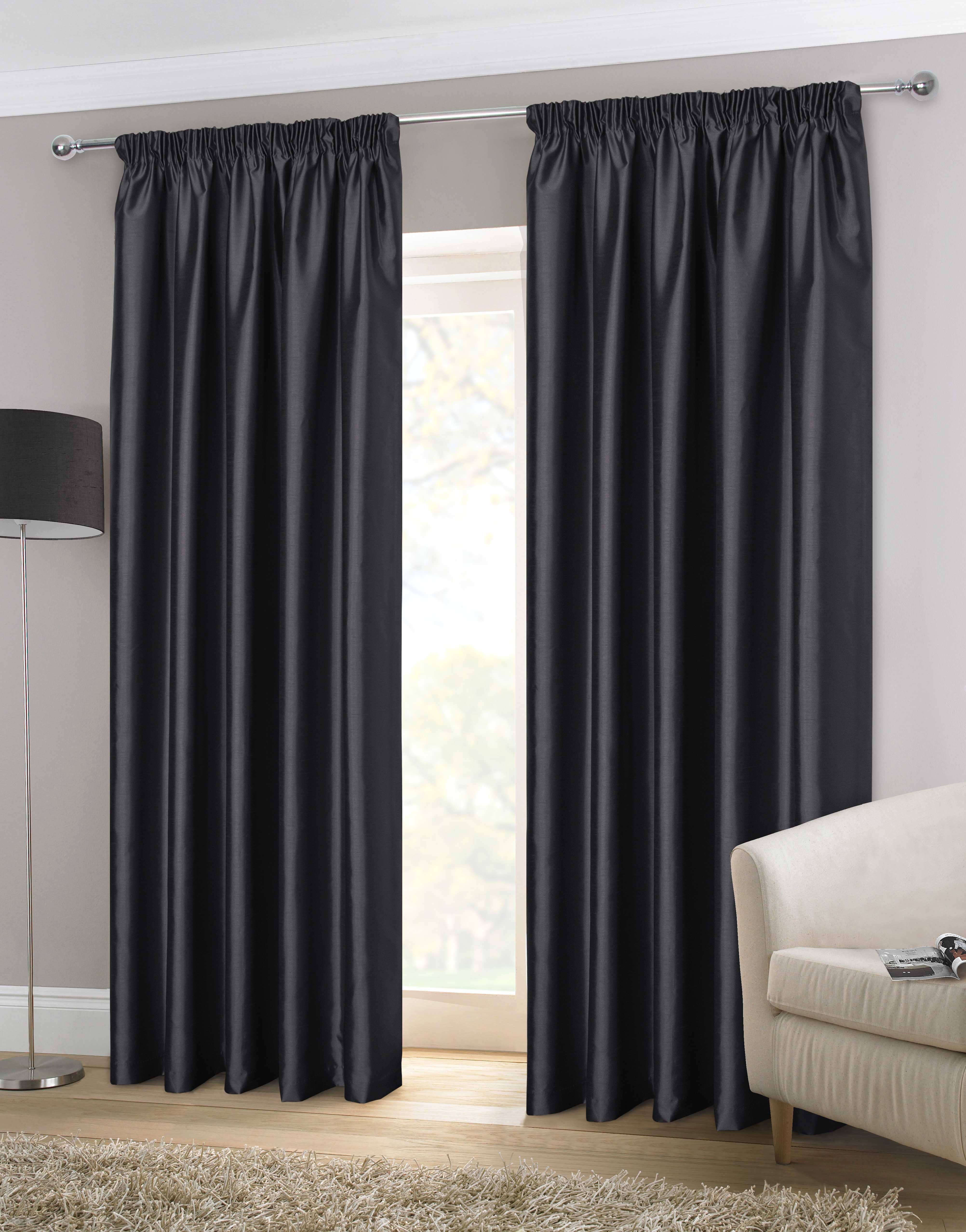 Faux Silk 3 Pencil Pleat Curtains At Home