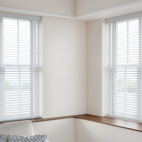 50mm Faux Wood Venetian Blind in a recess WHITE HERO SHOT