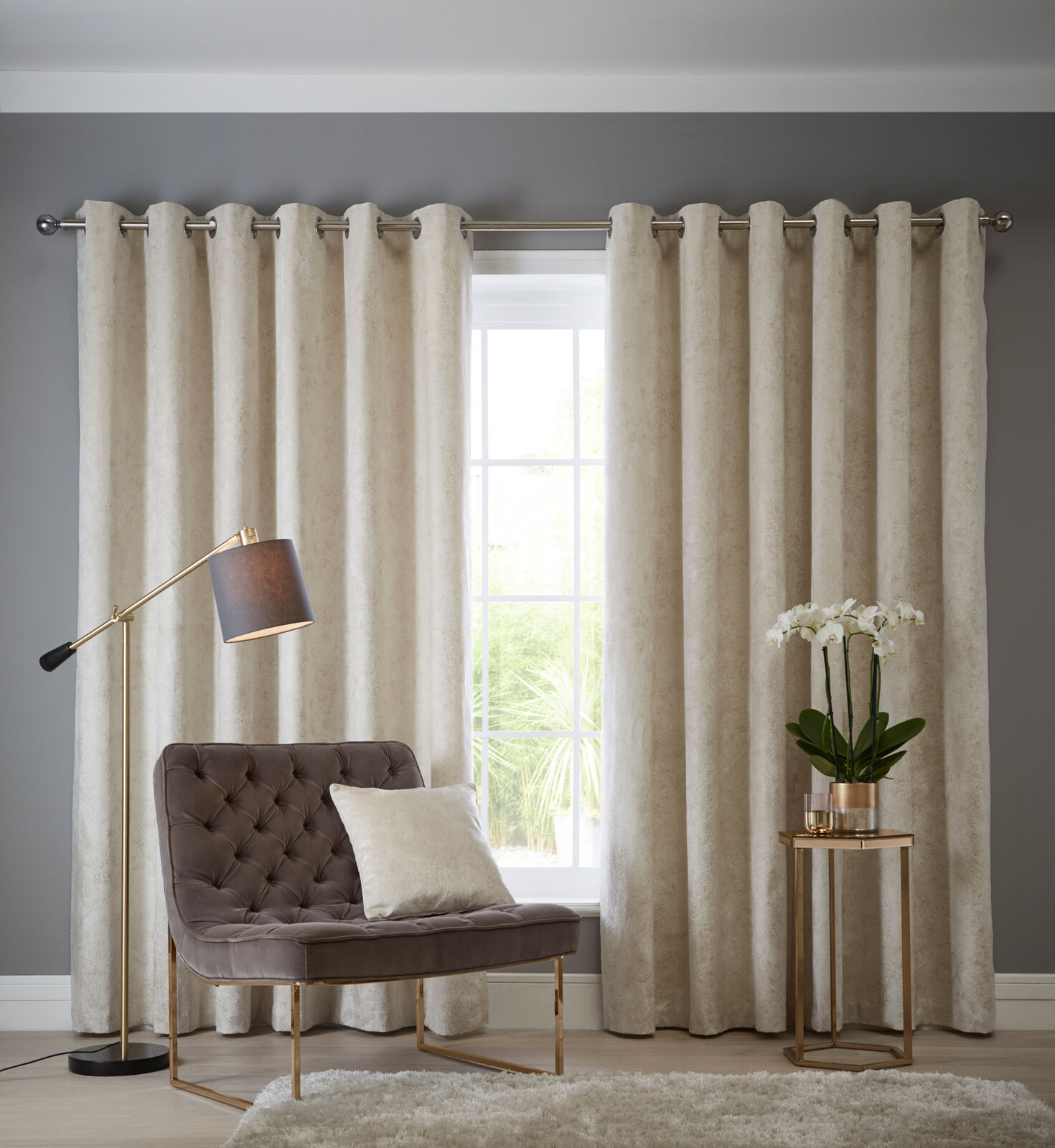 Navarra Eyelet Curtains Silver Curtains At Home