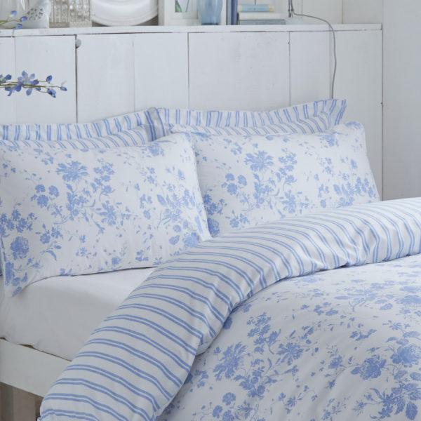 Amelie Blue Housewife Pillowcase Pair