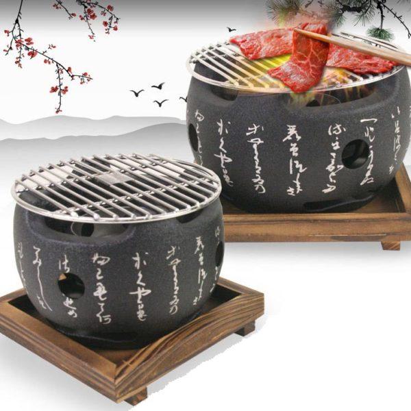 Teburu Round Large Table Top Charcoal Mini Bbq Grill