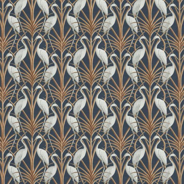 Nouveau Heron Navy Fabric flat shot