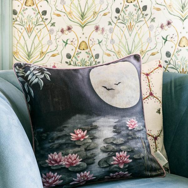 The Moonlit Lily Garden cushion shot 1 LS