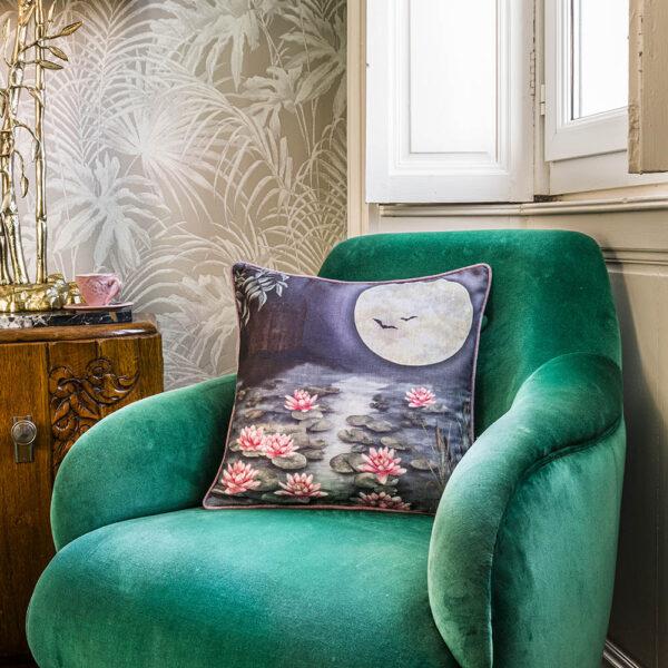 The Moonlit Lily Garden cushion shot 2 LS