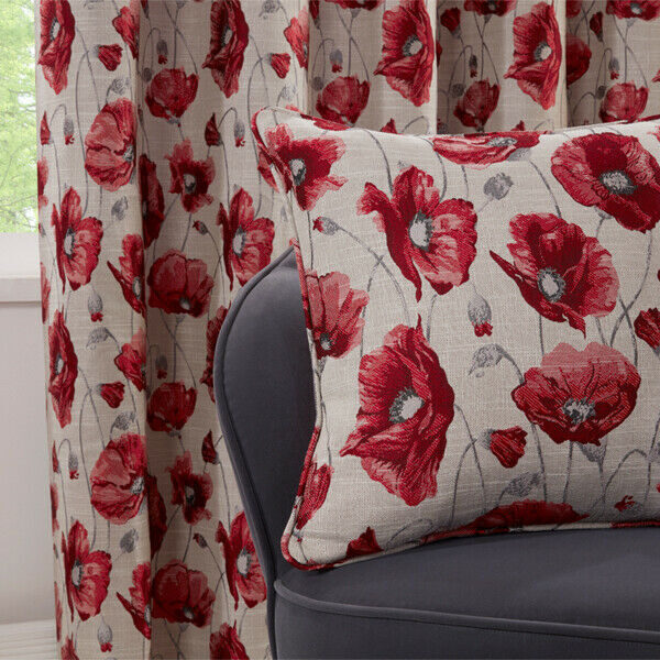poppy cushion cover red