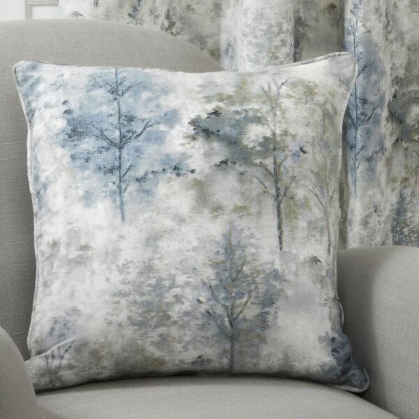 woodland cushion blue