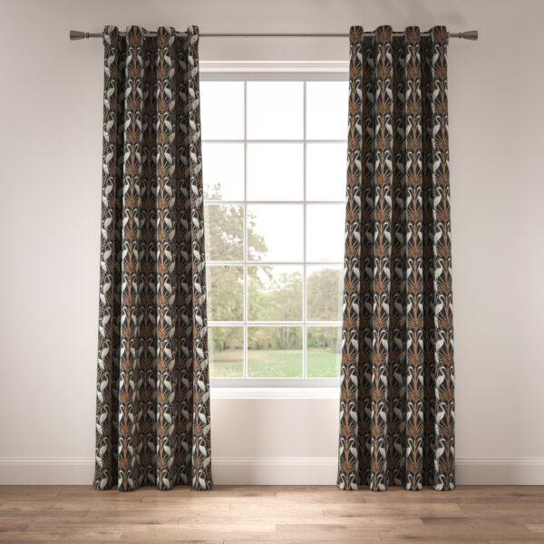 Nouveau Heron Navy Eyelet Curtain
