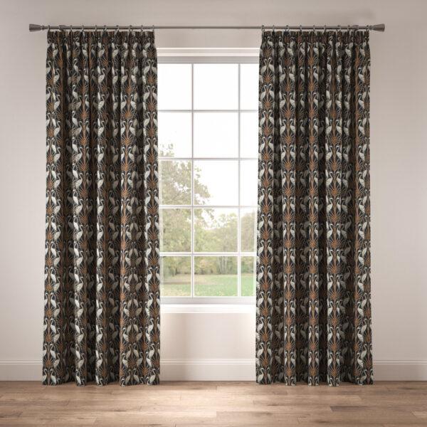 Nouveau Heron Navy Tape Curtains